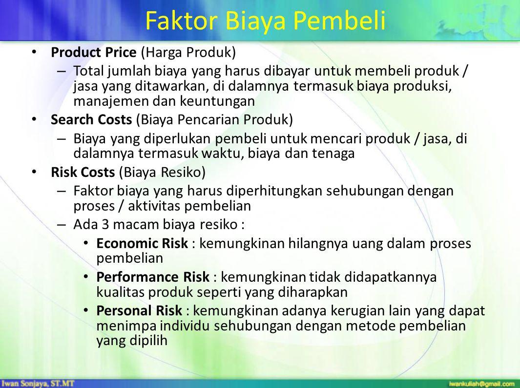 Faktor Biaya Pembeli Product Price (Harga Produk)