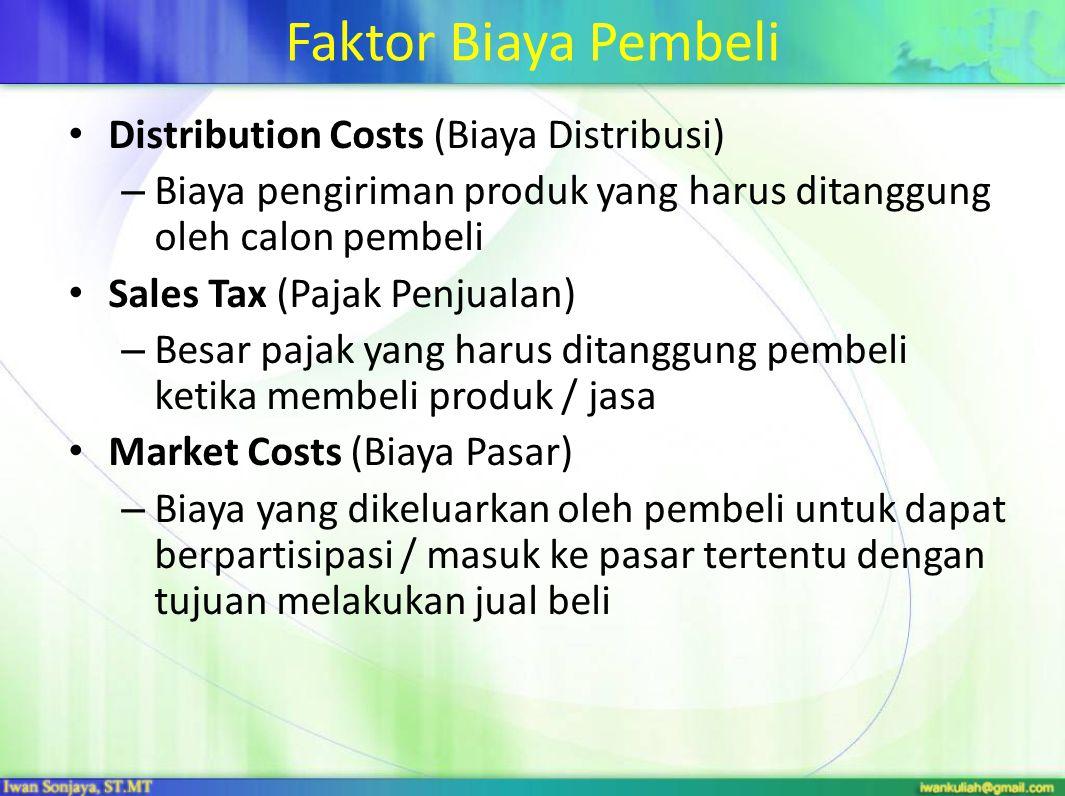 Faktor Biaya Pembeli Distribution Costs (Biaya Distribusi)