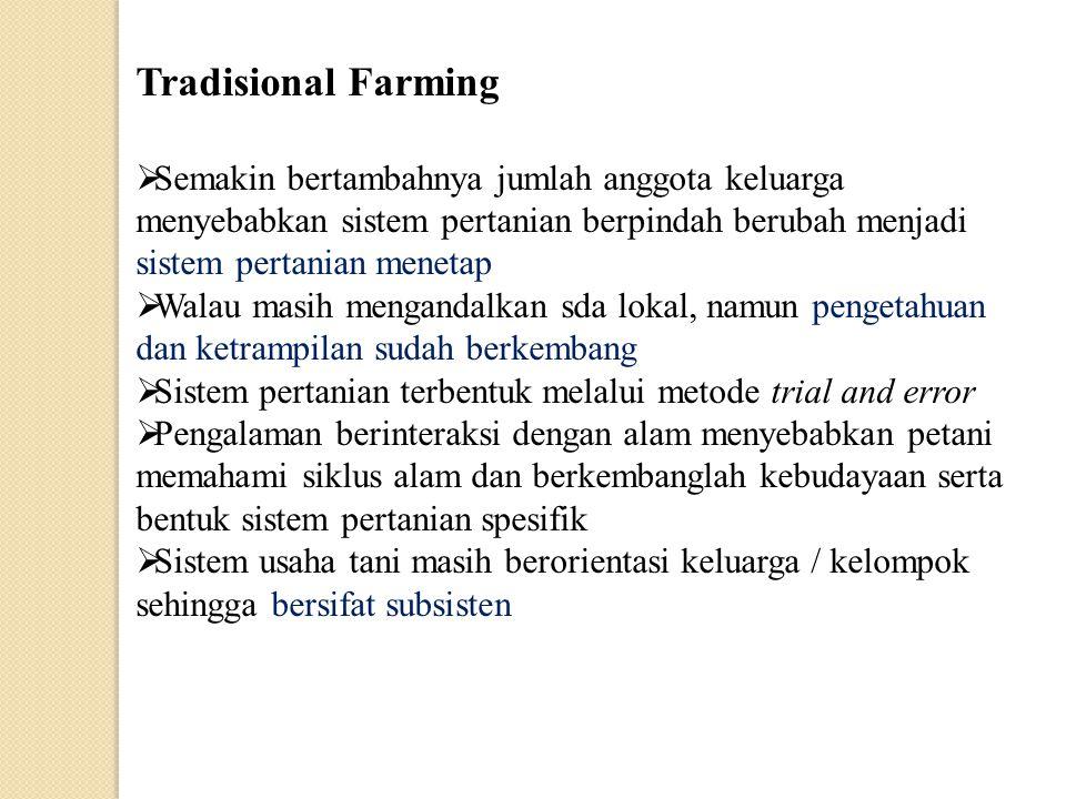 Tradisional Farming Semakin bertambahnya jumlah anggota keluarga menyebabkan sistem pertanian berpindah berubah menjadi sistem pertanian menetap.