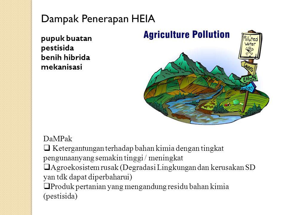 Dampak Penerapan HEIA pupuk buatan pestisida benih hibrida mekanisasi