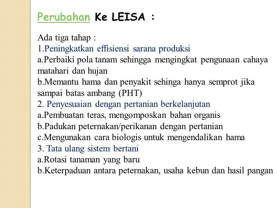 Perubahan Ke LEISA : Ada tiga tahap : 1
