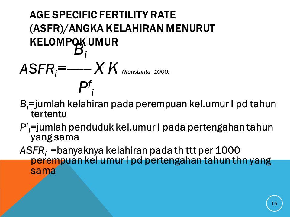 Bi Pfi ASFRi=------ X K (konstanta=1000)