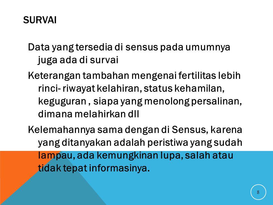 Survai Data yang tersedia di sensus pada umumnya juga ada di survai.