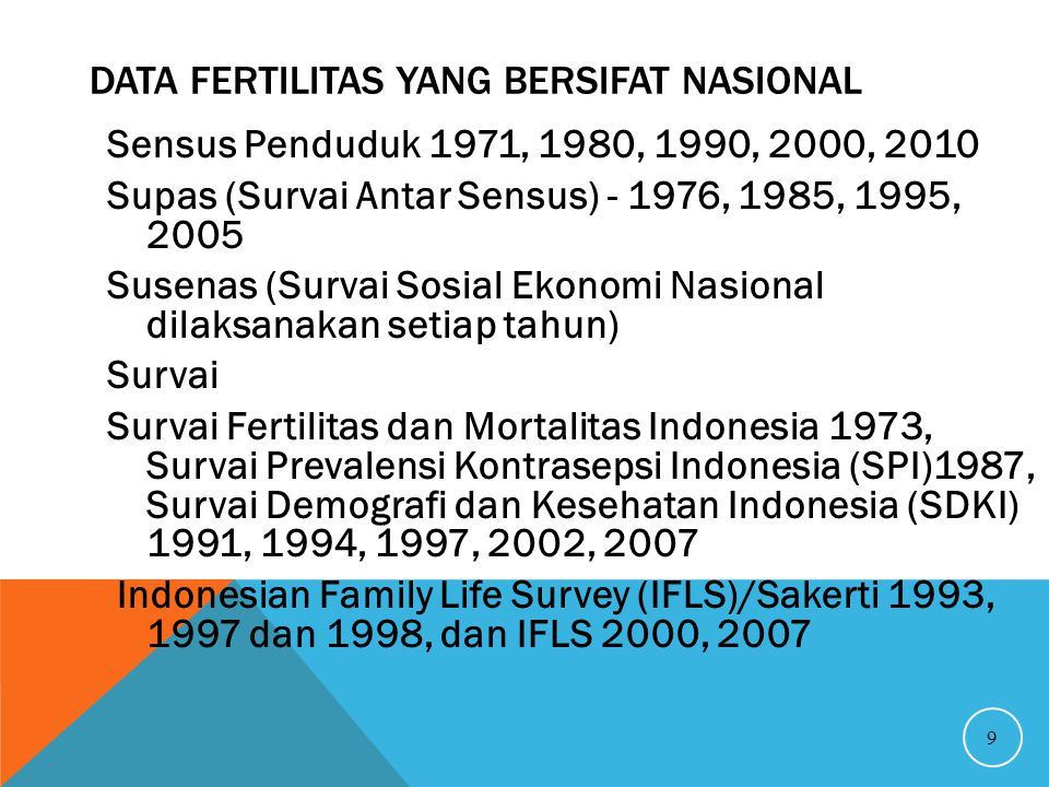 Data Fertilitas yang bersifat Nasional