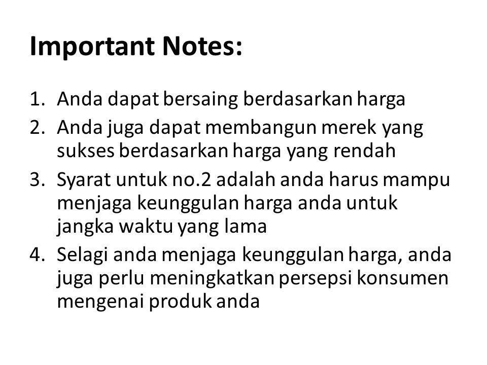 Important Notes: Anda dapat bersaing berdasarkan harga