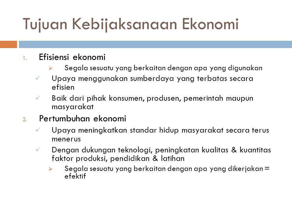 Tujuan Kebijaksanaan Ekonomi
