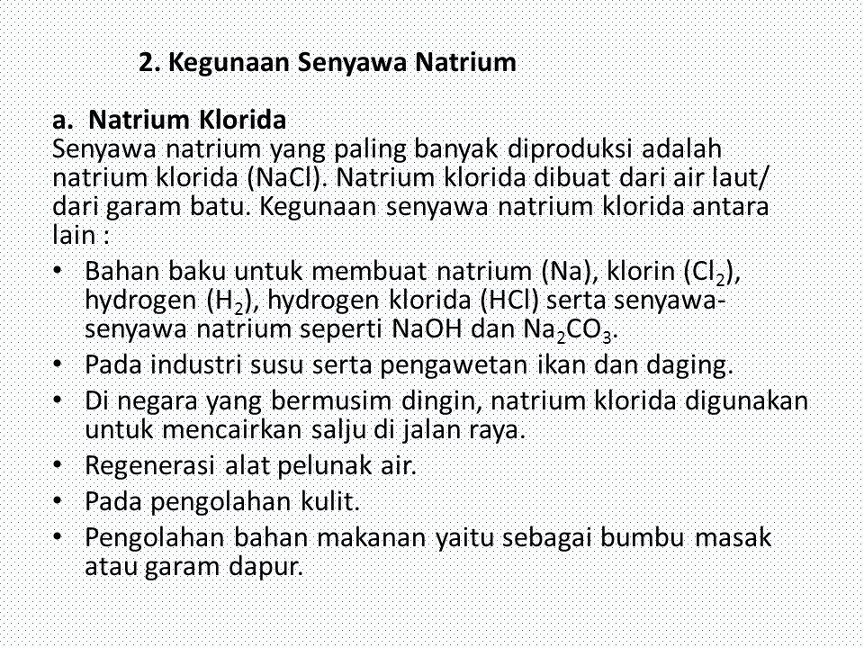 2. Kegunaan Senyawa Natrium a