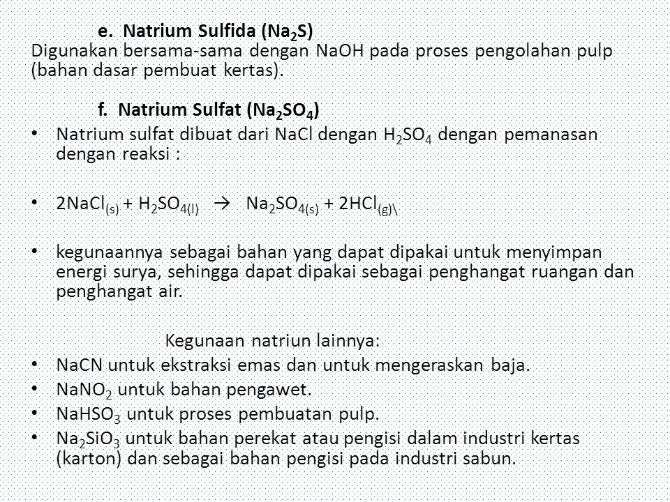 e. Natrium Sulfida (Na2S) Digunakan bersama-sama dengan NaOH pada proses pengolahan pulp (bahan dasar pembuat kertas). f. Natrium Sulfat (Na2SO4)