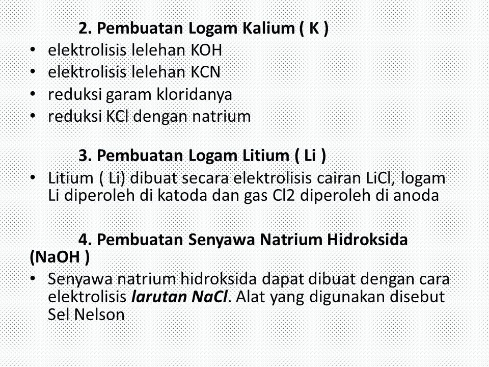 2. Pembuatan Logam Kalium ( K )