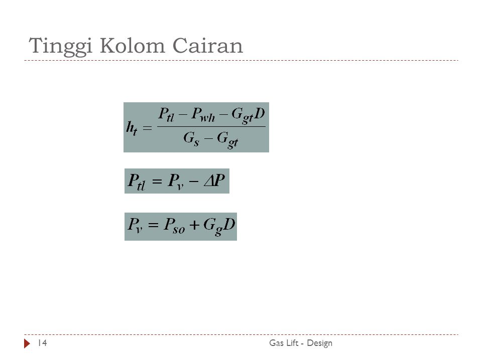 Tinggi Kolom Cairan Gas Lift - Design