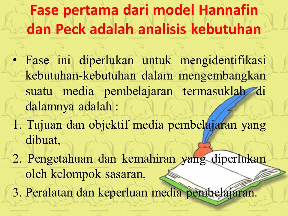 Fase pertama dari model Hannafin dan Peck adalah analisis kebutuhan