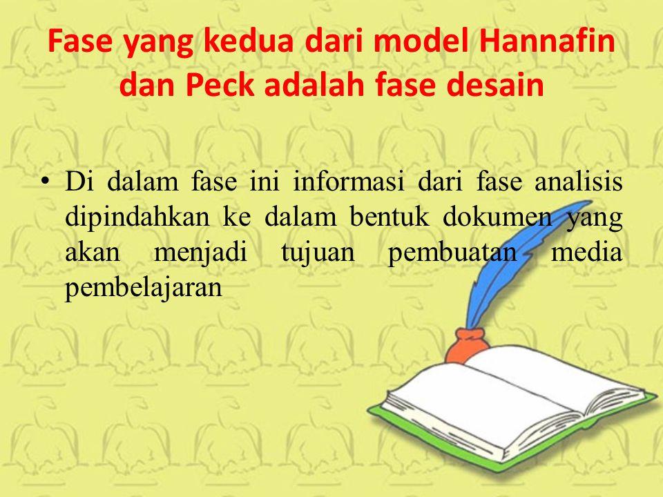 Fase yang kedua dari model Hannafin dan Peck adalah fase desain