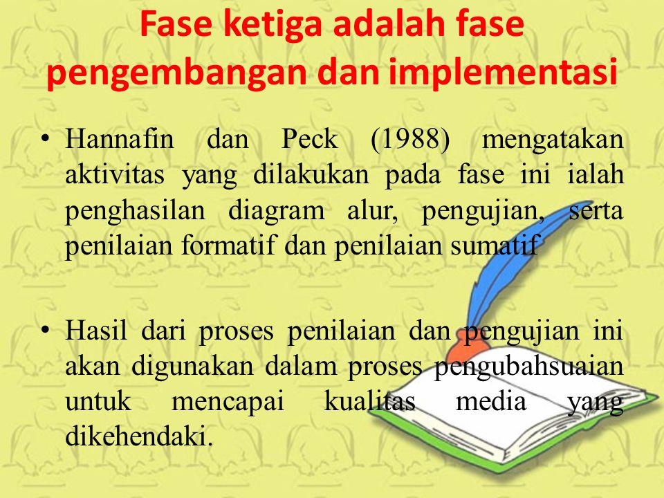 Fase ketiga adalah fase pengembangan dan implementasi