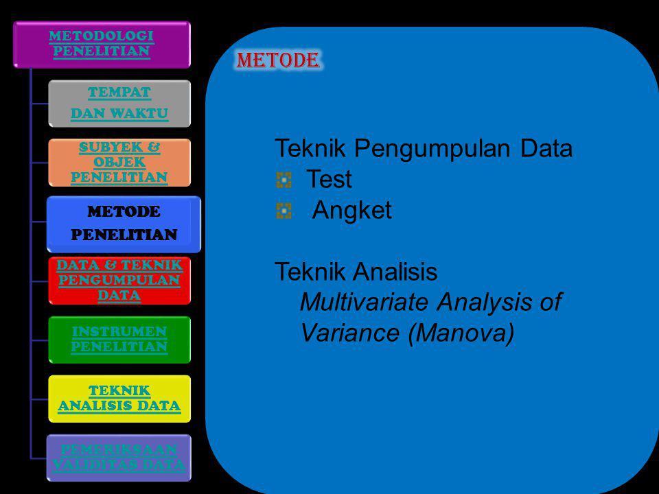 Teknik Pengumpulan Data Test Angket Teknik Analisis