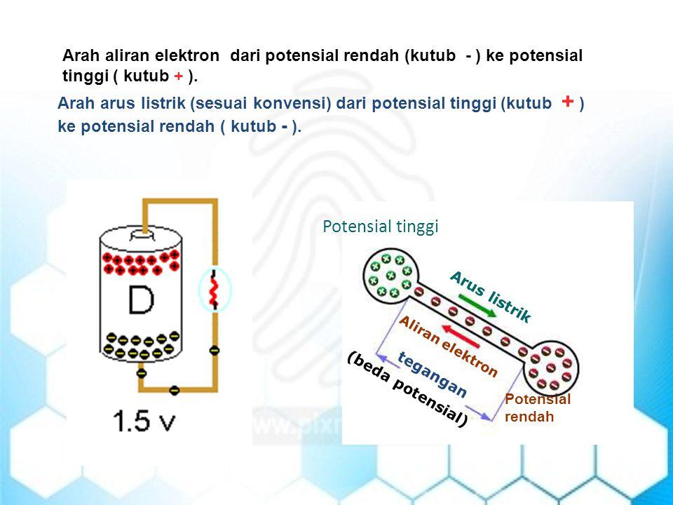 Arah aliran elektron dari potensial rendah (kutub - ) ke potensial tinggi ( kutub + ).