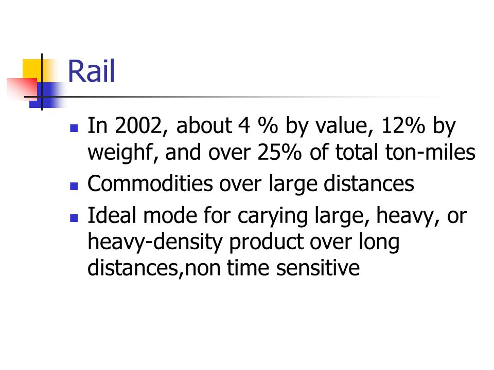 Rail In 2002, about 4 % by value, 12% by weighf, and over 25% of total ton-miles. Commodities over large distances.