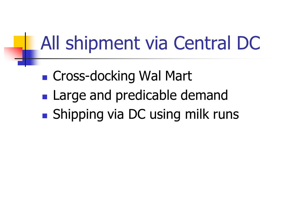 All shipment via Central DC
