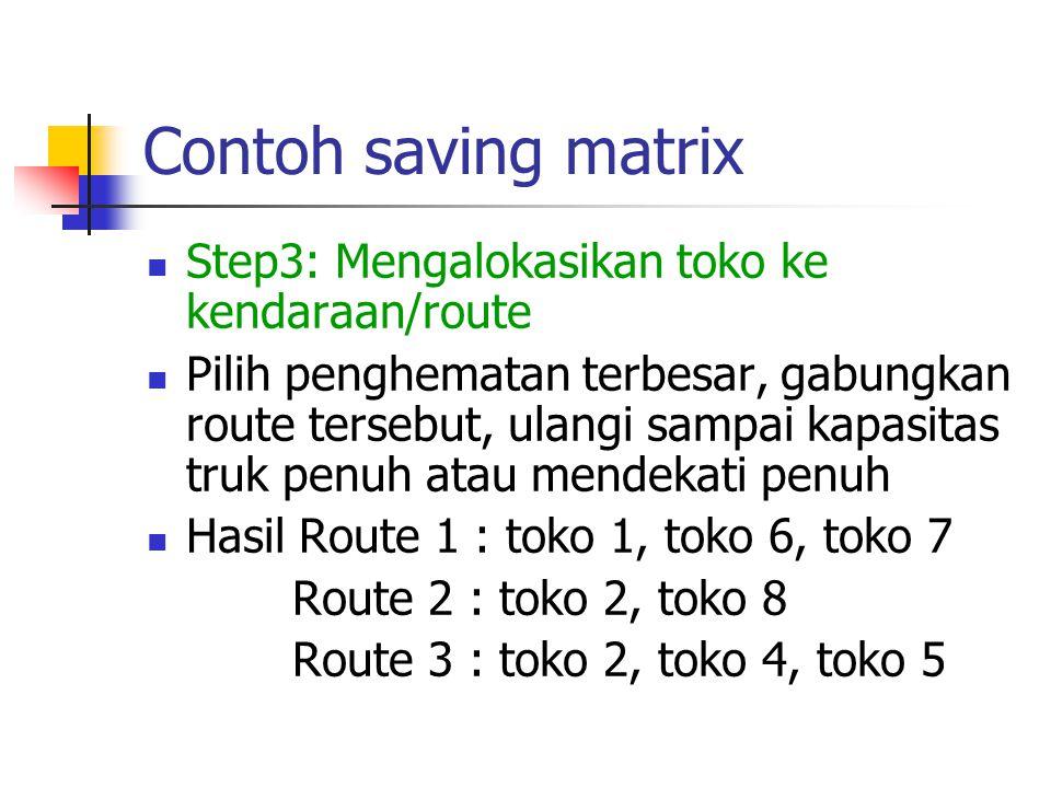 Contoh saving matrix Step3: Mengalokasikan toko ke kendaraan/route