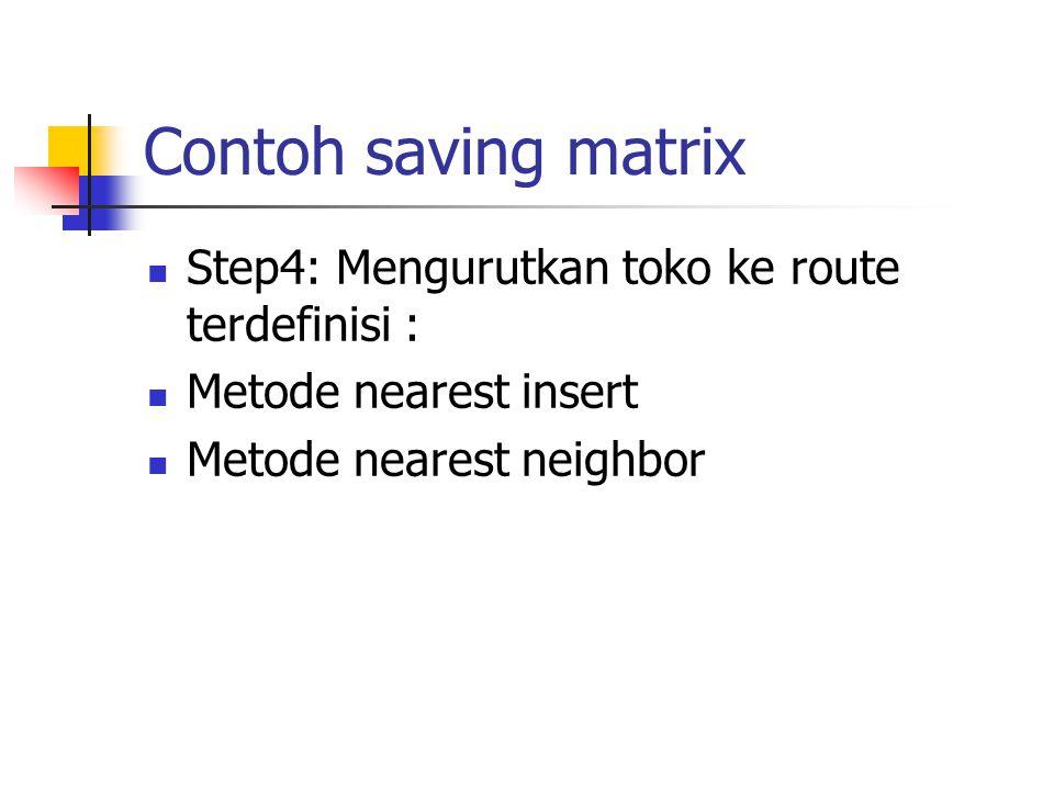 Contoh saving matrix Step4: Mengurutkan toko ke route terdefinisi :
