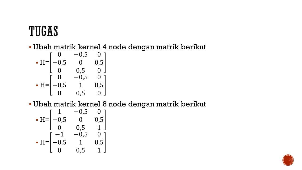 Tugas Ubah matrik kernel 4 node dengan matrik berikut