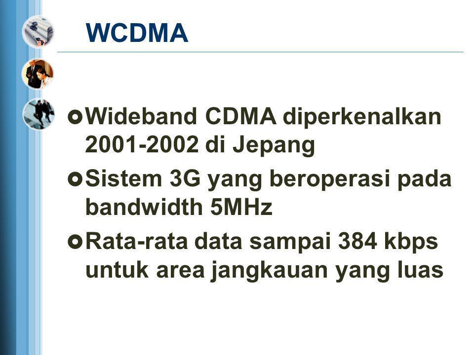 WCDMA Wideband CDMA diperkenalkan 2001-2002 di Jepang