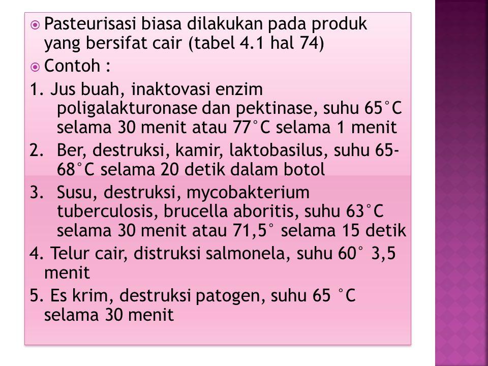 Pasteurisasi biasa dilakukan pada produk yang bersifat cair (tabel 4
