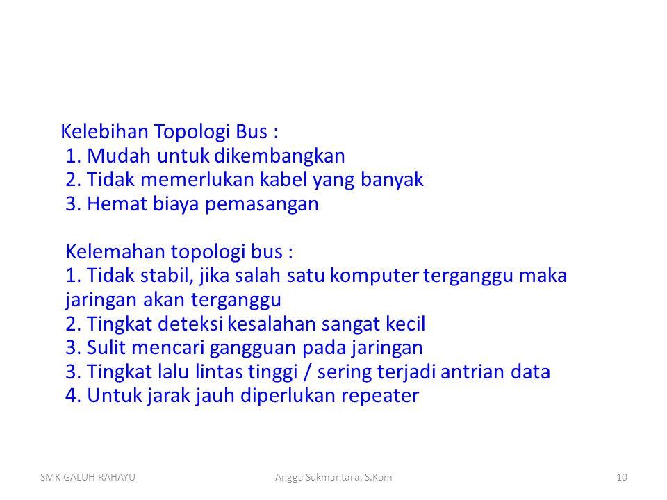 Kelebihan Topologi Bus : 1. Mudah untuk dikembangkan 2