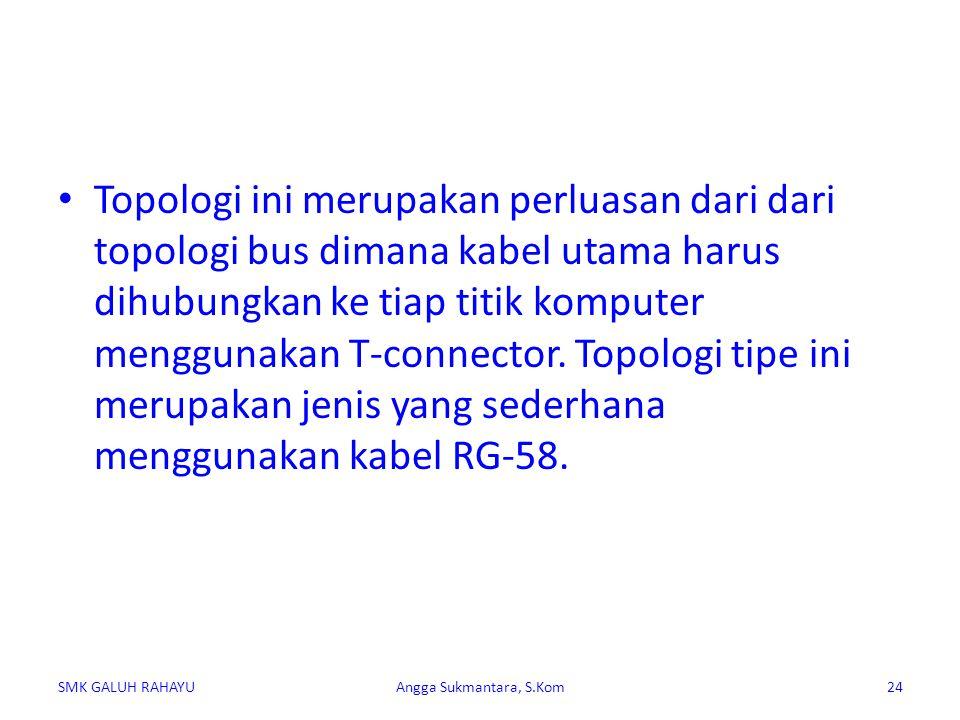 Topologi ini merupakan perluasan dari dari topologi bus dimana kabel utama harus dihubungkan ke tiap titik komputer menggunakan T-connector. Topologi tipe ini merupakan jenis yang sederhana menggunakan kabel RG-58.