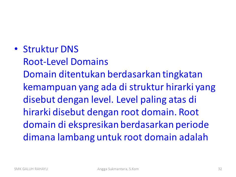 Struktur DNS Root-Level Domains Domain ditentukan berdasarkan tingkatan kemampuan yang ada di struktur hirarki yang disebut dengan level. Level paling atas di hirarki disebut dengan root domain. Root domain di ekspresikan berdasarkan periode dimana lambang untuk root domain adalah
