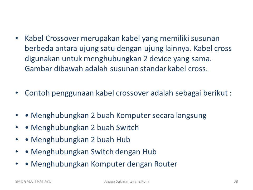 Contoh penggunaan kabel crossover adalah sebagai berikut :