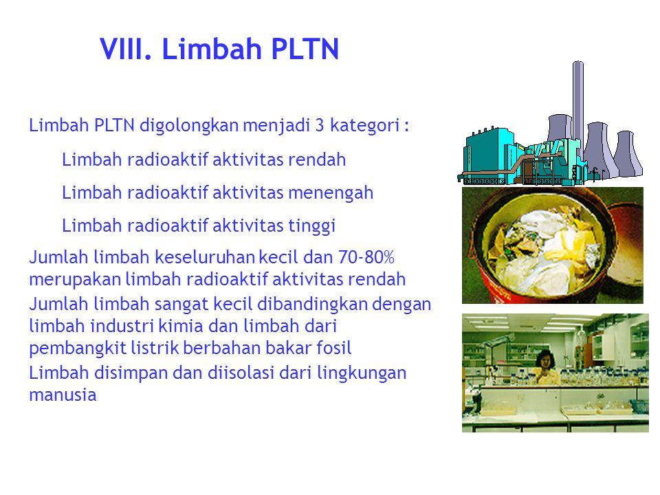 VIII. Limbah PLTN Limbah PLTN digolongkan menjadi 3 kategori :