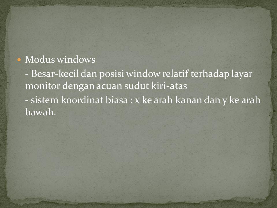 Modus windows - Besar-kecil dan posisi window relatif terhadap layar monitor dengan acuan sudut kiri-atas.