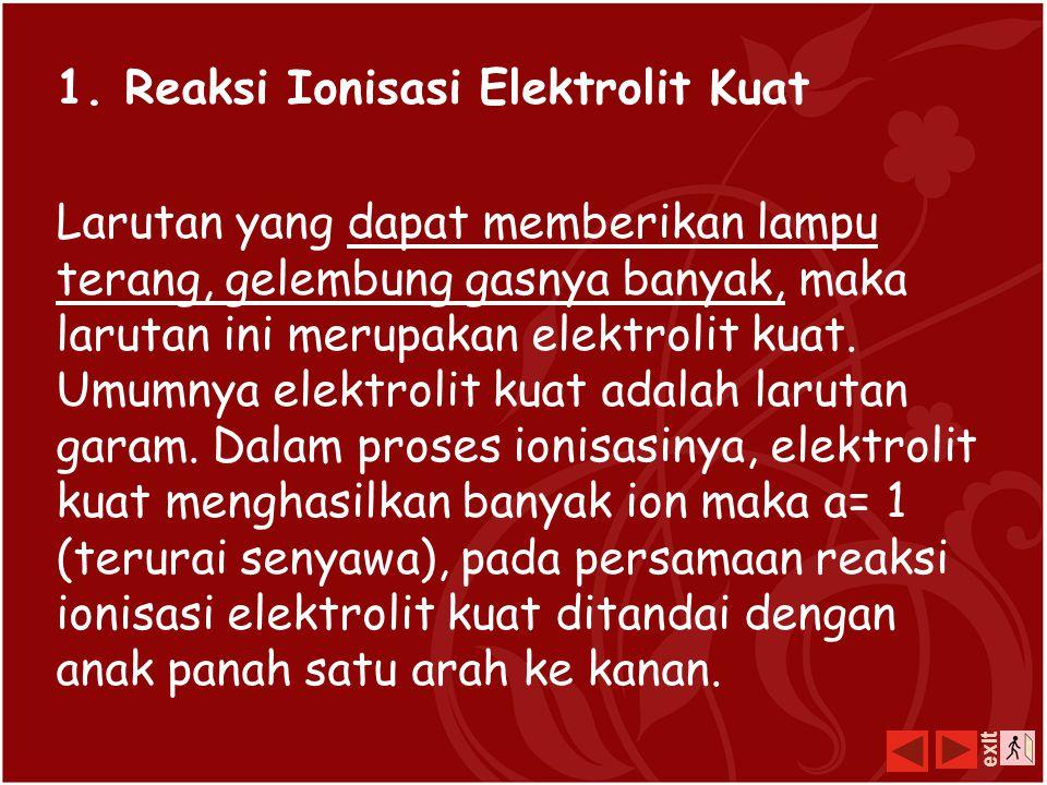 1. Reaksi Ionisasi Elektrolit Kuat