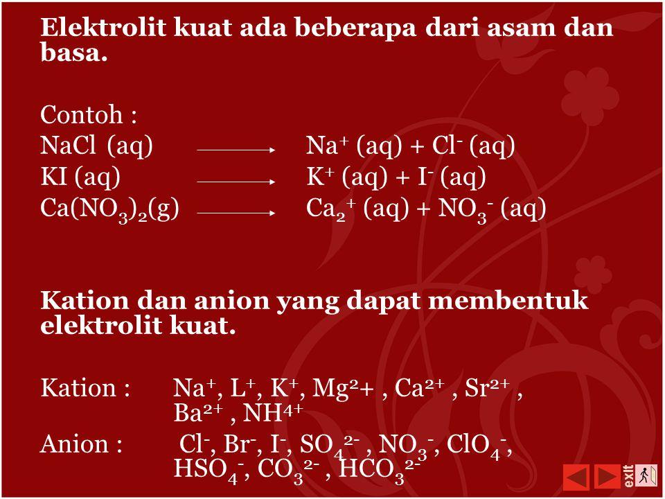 Elektrolit kuat ada beberapa dari asam dan basa.