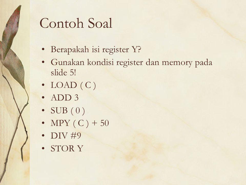 Contoh Soal Berapakah isi register Y