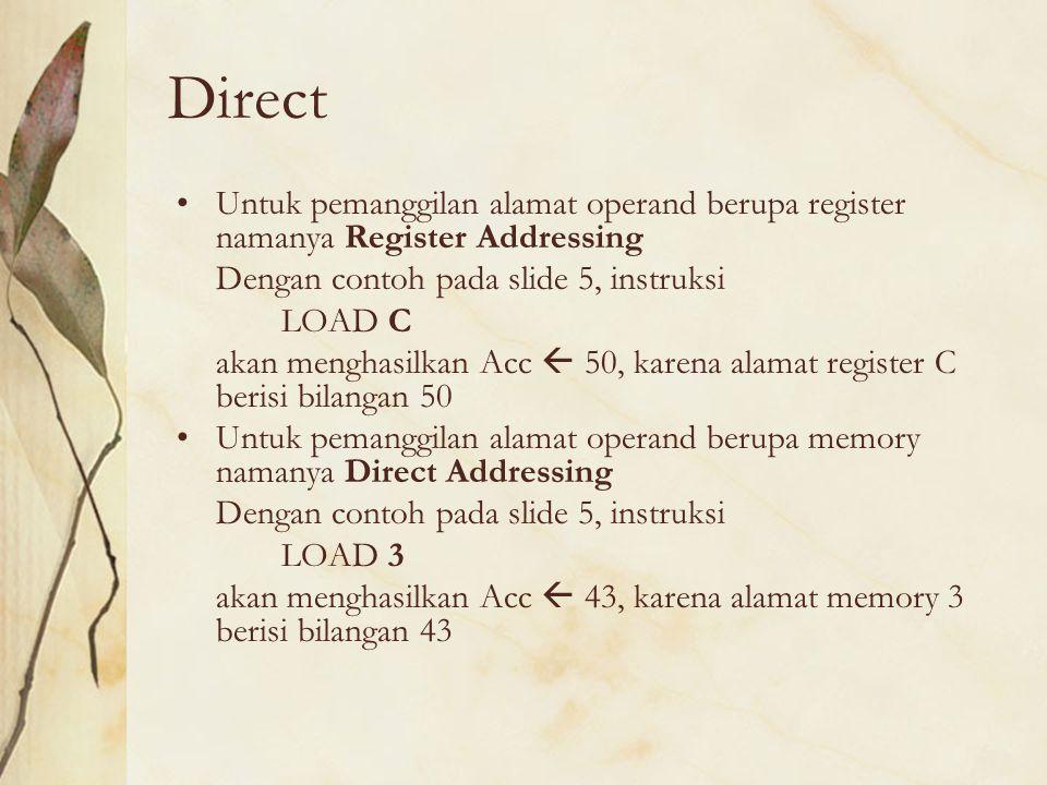 Direct Untuk pemanggilan alamat operand berupa register namanya Register Addressing. Dengan contoh pada slide 5, instruksi.