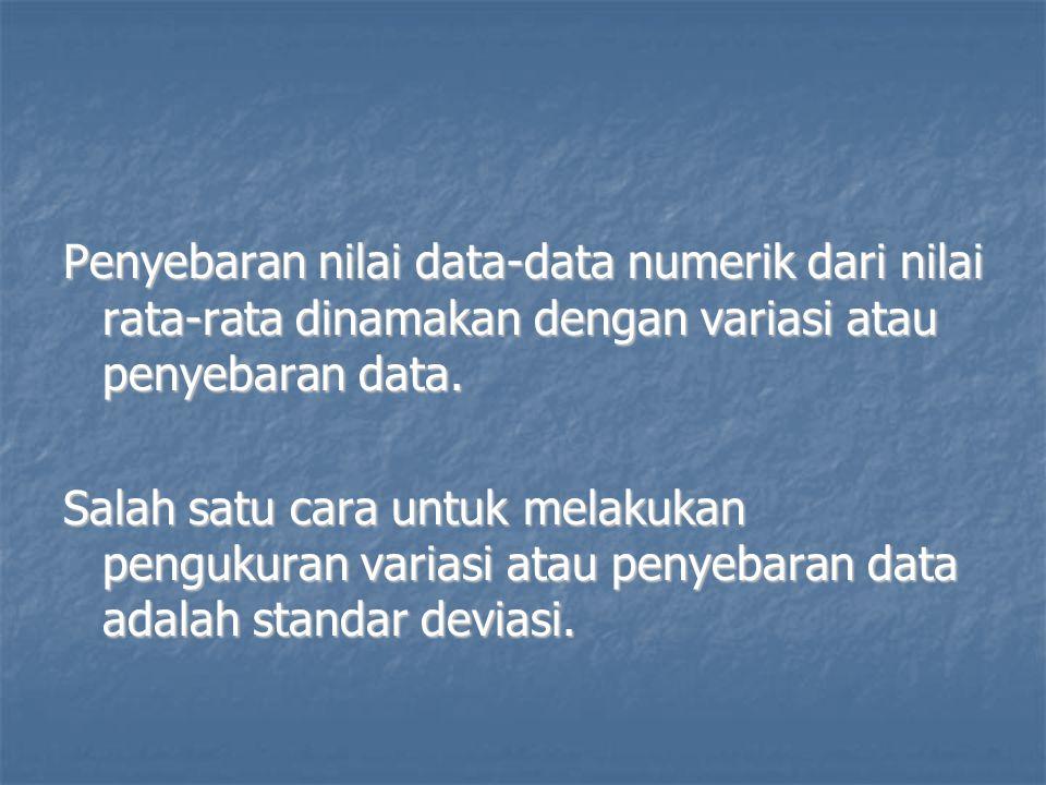 Penyebaran nilai data-data numerik dari nilai rata-rata dinamakan dengan variasi atau penyebaran data.