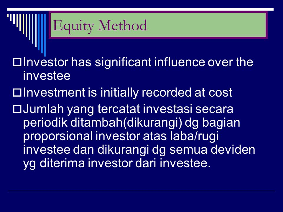 Equity Method Investor has significant influence over the investee