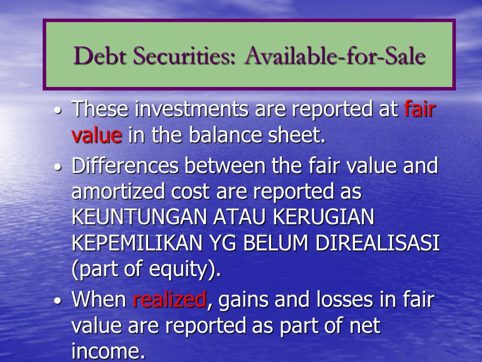 Debt Securities: Available-for-Sale