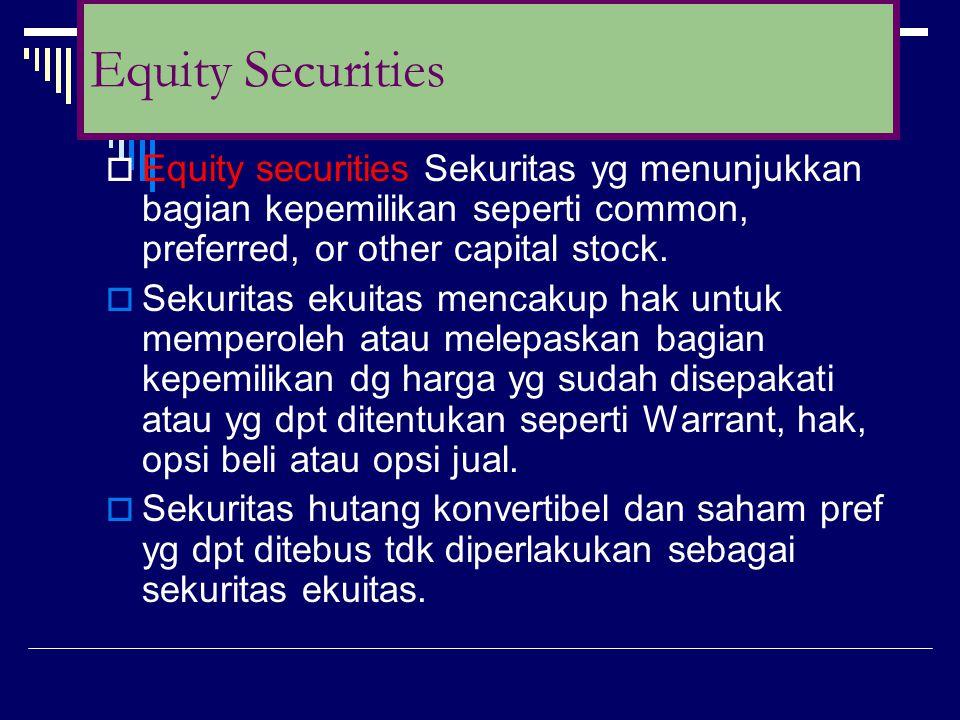 Equity Securities Equity securities Sekuritas yg menunjukkan bagian kepemilikan seperti common, preferred, or other capital stock.