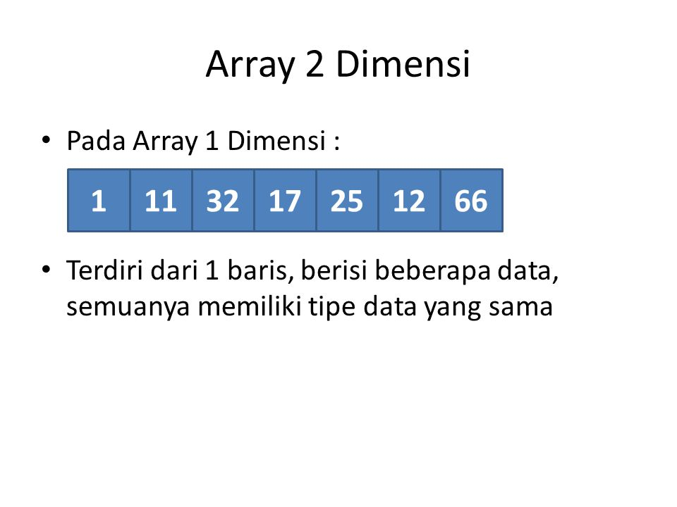 Array 2 Dimensi 1 11 32 17 25 12 66 Pada Array 1 Dimensi :