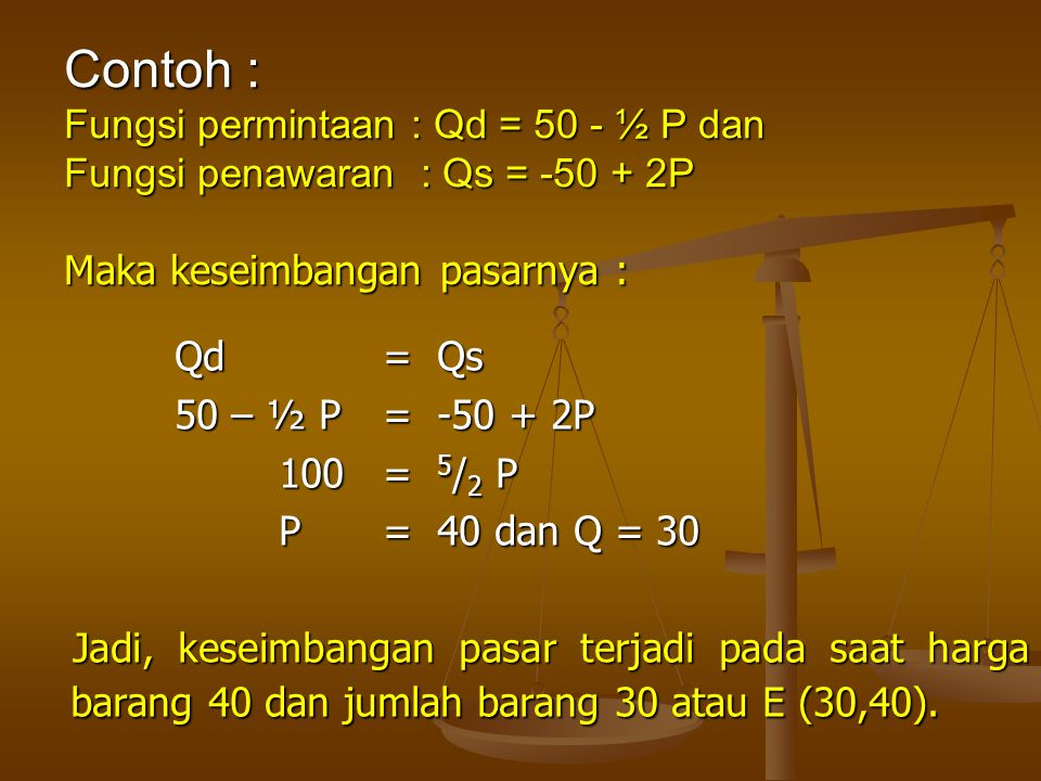 Contoh : Fungsi permintaan : Qd = 50 - ½ P dan Fungsi penawaran : Qs = -50 + 2P Maka keseimbangan pasarnya :