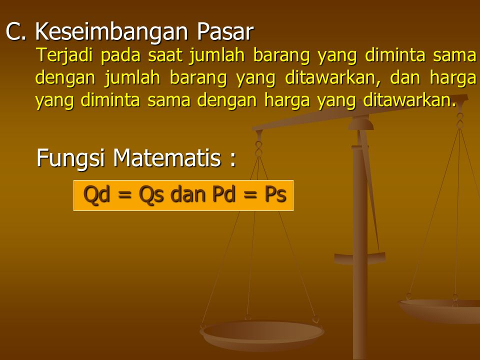 C. Keseimbangan Pasar Fungsi Matematis : Qd = Qs dan Pd = Ps