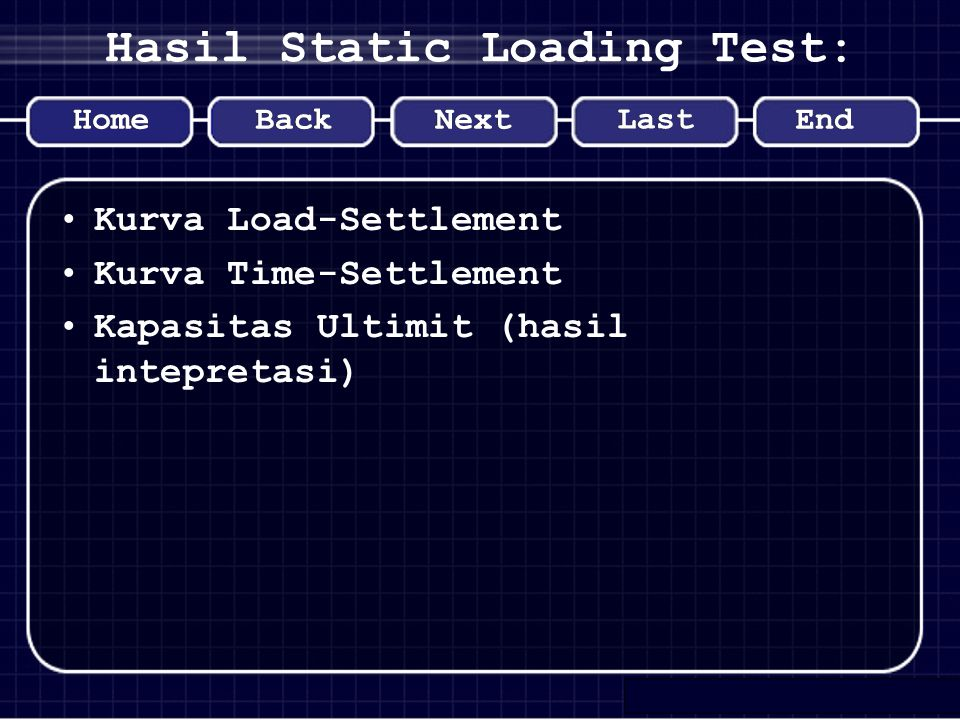 Hasil Static Loading Test: