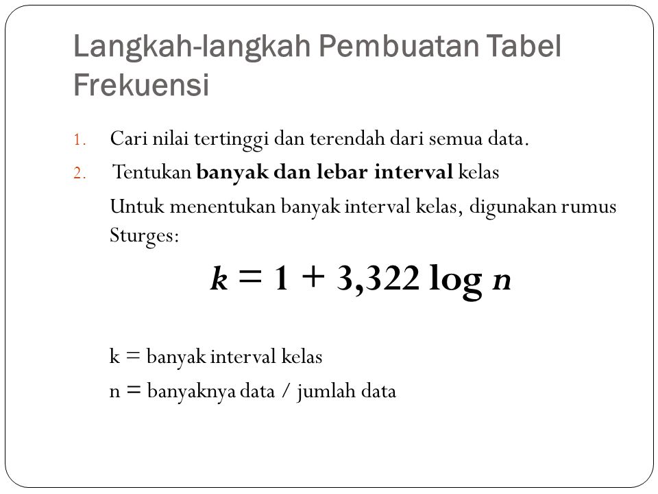 Langkah-langkah Pembuatan Tabel Frekuensi