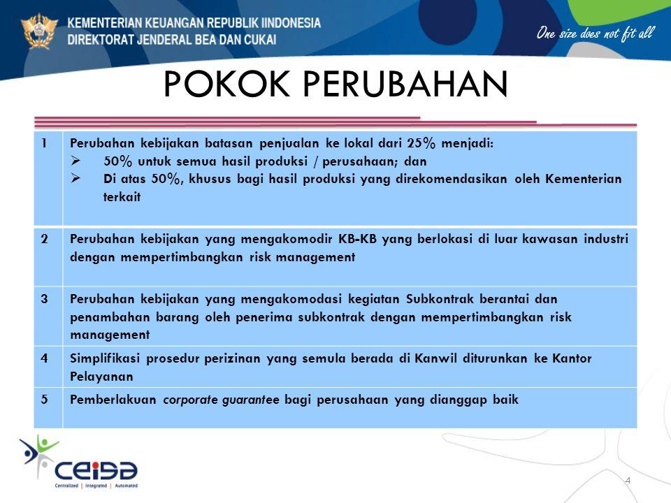 POKOK PERUBAHAN 1. Perubahan kebijakan batasan penjualan ke lokal dari 25% menjadi: 50% untuk semua hasil produksi / perusahaan; dan.