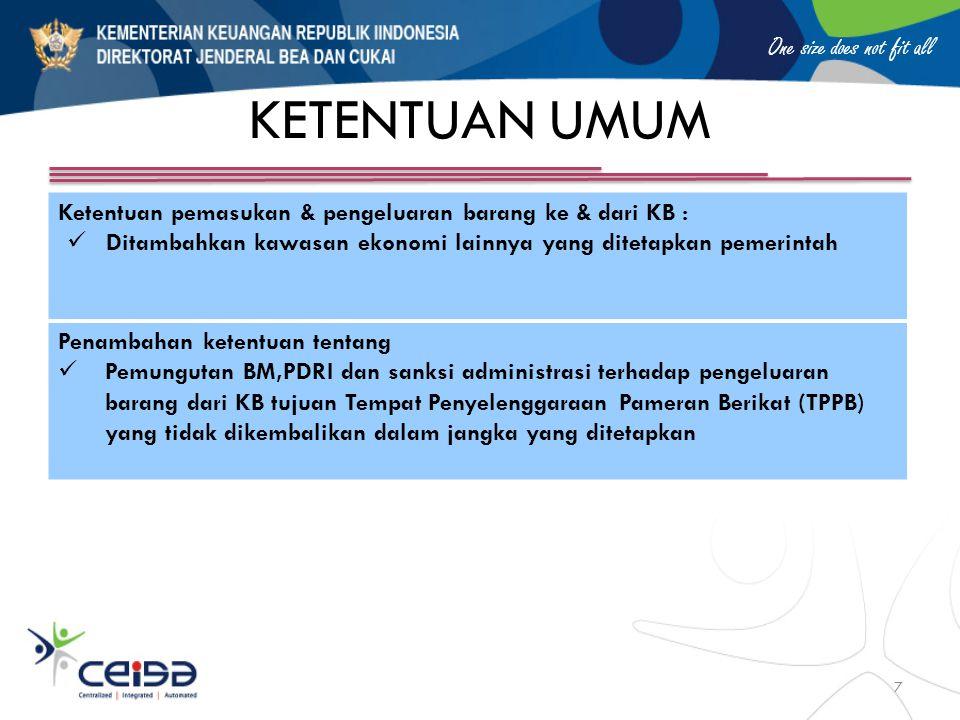 KETENTUAN UMUM Ketentuan pemasukan & pengeluaran barang ke & dari KB :