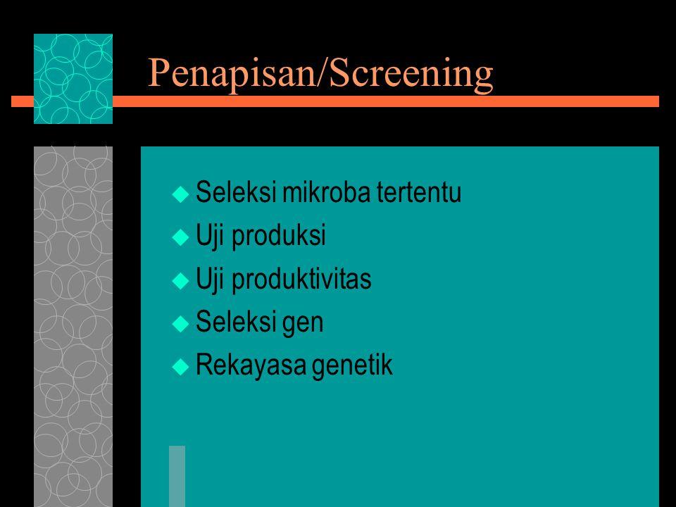 Penapisan/Screening Seleksi mikroba tertentu Uji produksi