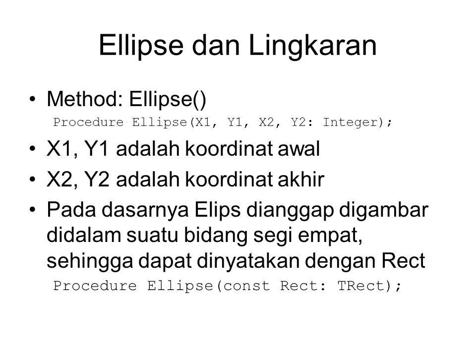 Ellipse dan Lingkaran Method: Ellipse() X1, Y1 adalah koordinat awal