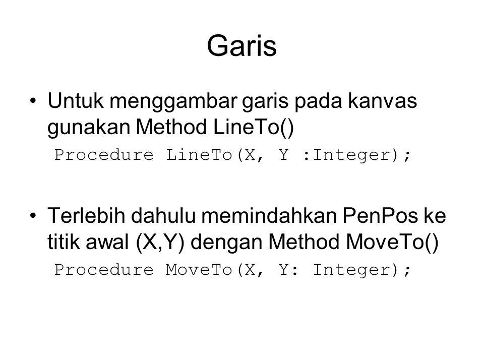 Garis Untuk menggambar garis pada kanvas gunakan Method LineTo()